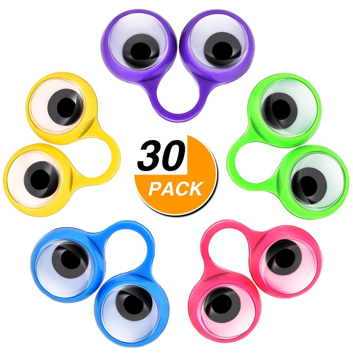 Frienda 30 Pieces Eye Finger Puppets Eye On Rings Googly Eyeball Ring Party Favor Toys Kids, 5 Colors (Large Size)