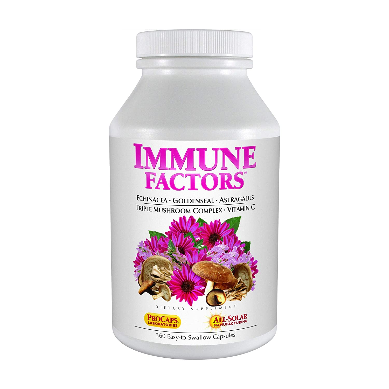 Andrew Lessman Immune Factors 360 Capsules – Echinacea, Goldenseal, Vitamin C, Astragalus, Supports and Promotes Immune System and Natural Defenses, No Additives. Small Easy to Swallow Capsules