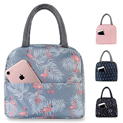b94fa742c272 Buringer Insulated Lunch Bag, Reusable Outdoor Travel Picnic School Lunch  Box Collapsible Tote Bag with Back Pocket, Zipper Closure, Foldable & ...