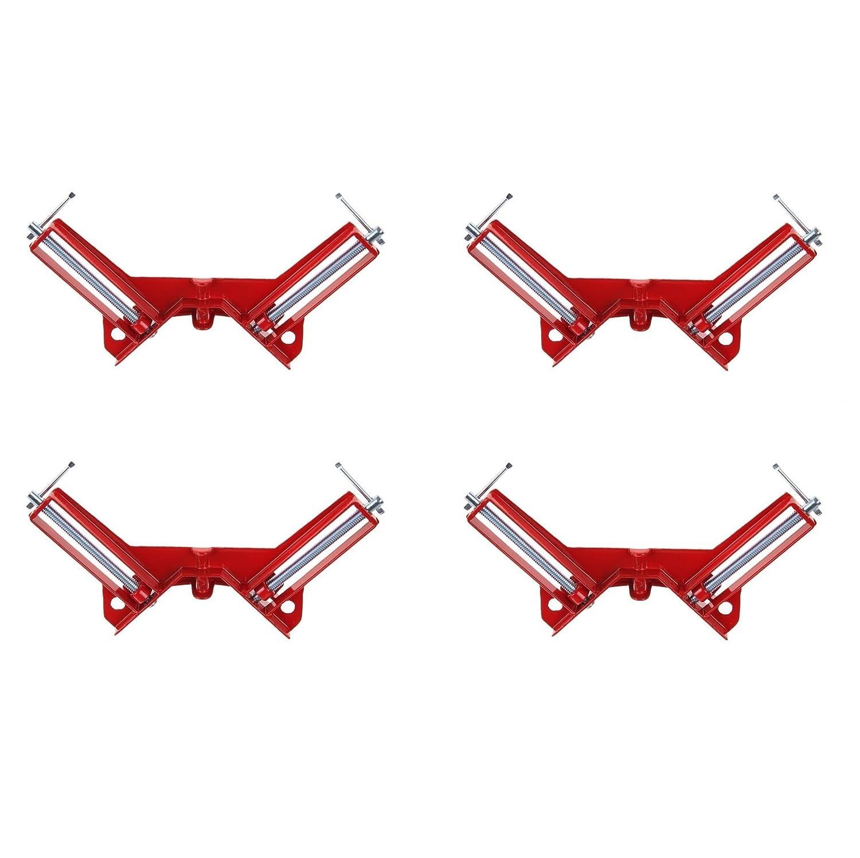 Farmunion 4pcs 90 Degree Right Angle Miter Corner Clamp 3' Capacity Corner Tool Jig Red