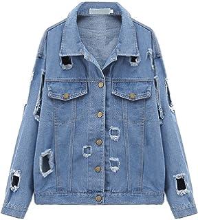 d39ac3f2ce9221 Jeansjacke Damen Jacke mit Patches Blouson Jacke Loose Jeans Kurz Mantel  Beiläufige Outwear