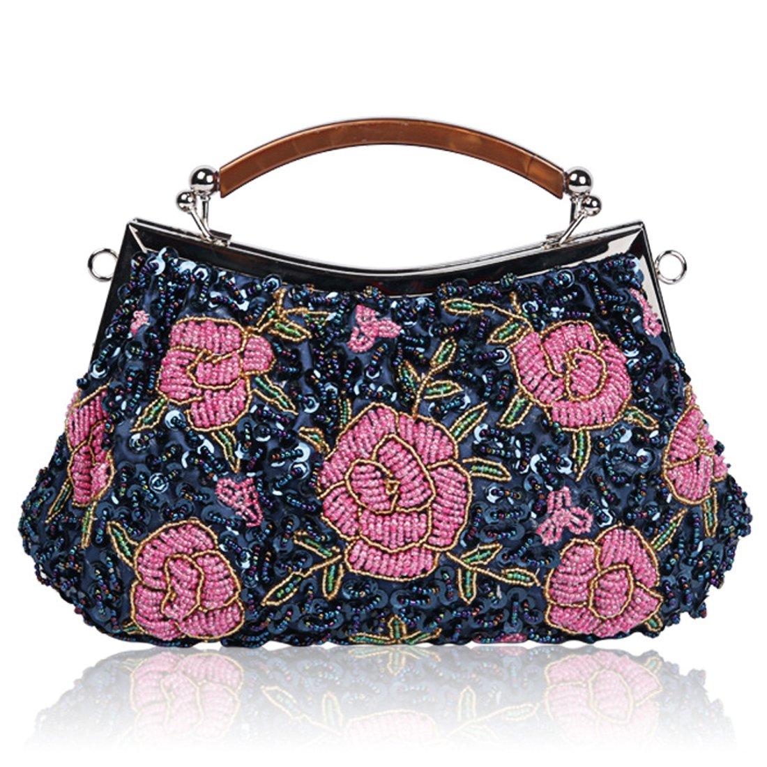 Floral Evening Bags for Women Chic Glass Beaded Flower Clutch Wedding Prom Bride Handbag Purse (Silver black 01)