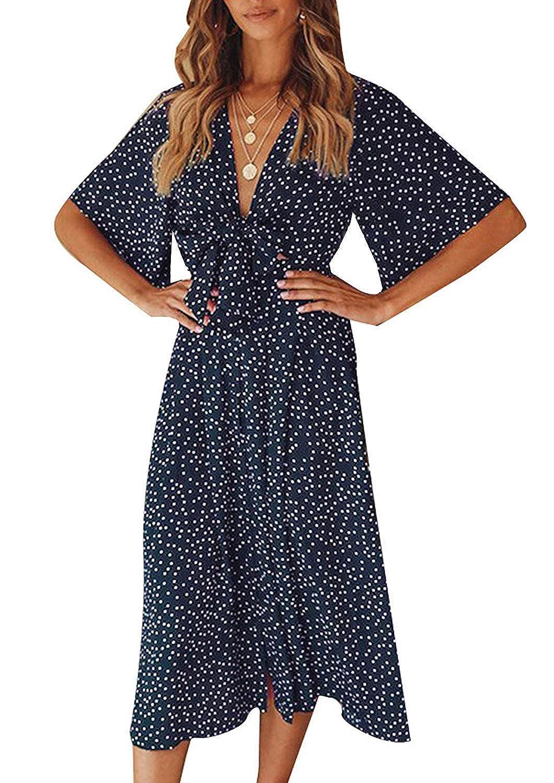 ZANZEA Damen V Neck Langarm Kleid Minikleid Beach Holiday Geblümt Strandkleid