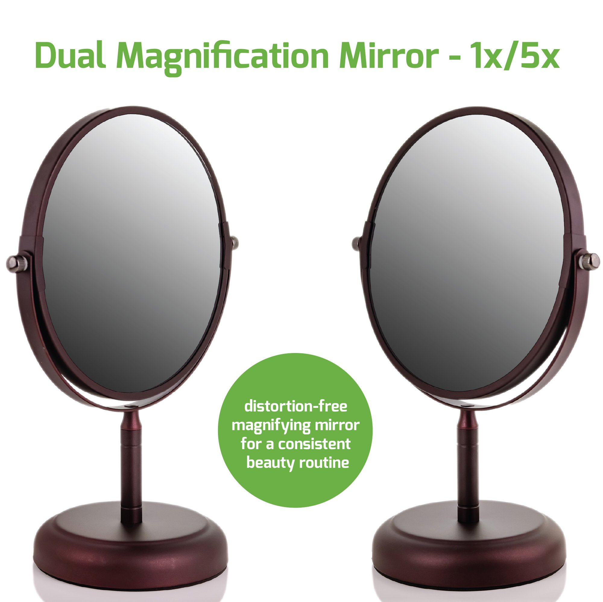 Ovente Round Tabletop Vanity Mirror, 7 Inch, Dual-Sided with 1x/5x magnification, Antique Bronze (MNLDT70ABZ1X5X) by Ovente (Image #3)