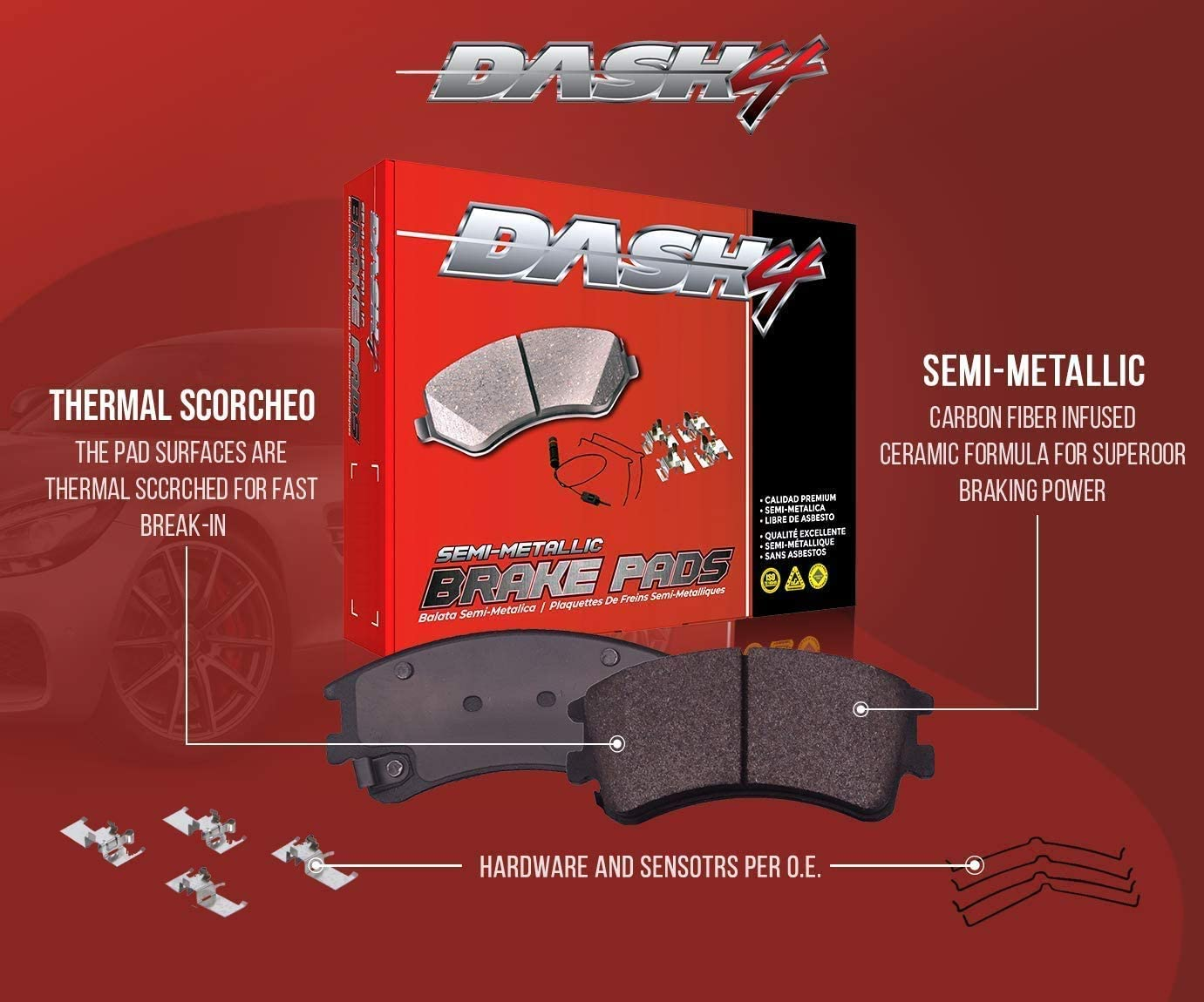 Dash4 MD306 Semi-Metallic Brake Pad