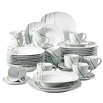 VEWEET Aviva Vajilla de Porcelana 60 Piezas vajilla Completa Incluye 12 Tazas de café