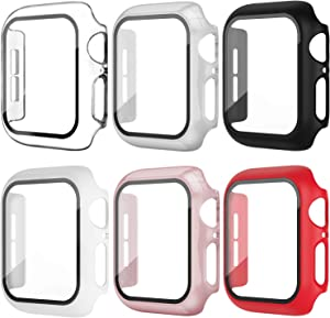 OMEE Apple Watch Case 42mm Series 3/2/1 with Tempered Glass Screen Protector, 6 Pack Ultra-Thin Hard PC Shockproof iWatch 42mm Accessories Bumper Full Protective Cover for Men/Women