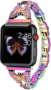Hi-Yoohere Elegent Stylish Bands Compatible with Apple Watch 38mm 40mm Chic Butterfly Diamond Rhinestone Stainless Steel Metal Wristband Strap for iWatch SE & Series 6/5/4/3/2/1 (Colorful)