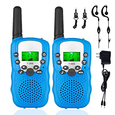 2 Pack Rechargeable Walkie Talkie – 22 Channel Long Range Two Way Radios with Flashlight and LCD Screen Boys Girls Toys for 3-12 Year Old Outdoor Adventures Camping Hiking Birthday Gifts (Blue): Toys & Games