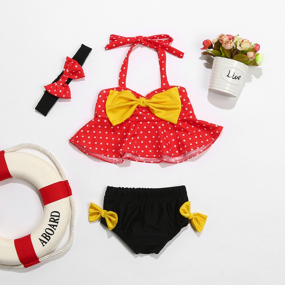 Baby Girls 3 Pcs Bikini Set Polka Dots Bow Halter Bra Top+Bottom+Headband Swimwear Rash Guard Swimsuit Winsummer