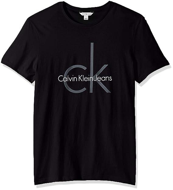 Calvin Klein Jeans Playera de Manga Corta Classic CK Logo Playera de Cuello  Redondo 757e7f343cab1