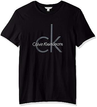 1d6f0c1d4 Calvin Klein Men's Short Sleeve Classic Ck Logo Crew Neck T-Shirt, BLACK,
