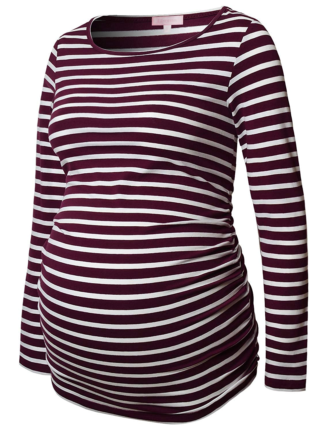 Burgundy and White Stripe Maternity Shirt Long Sleeve Basic Top Ruch Sides Bodycon Tshirt for Pregnant Women