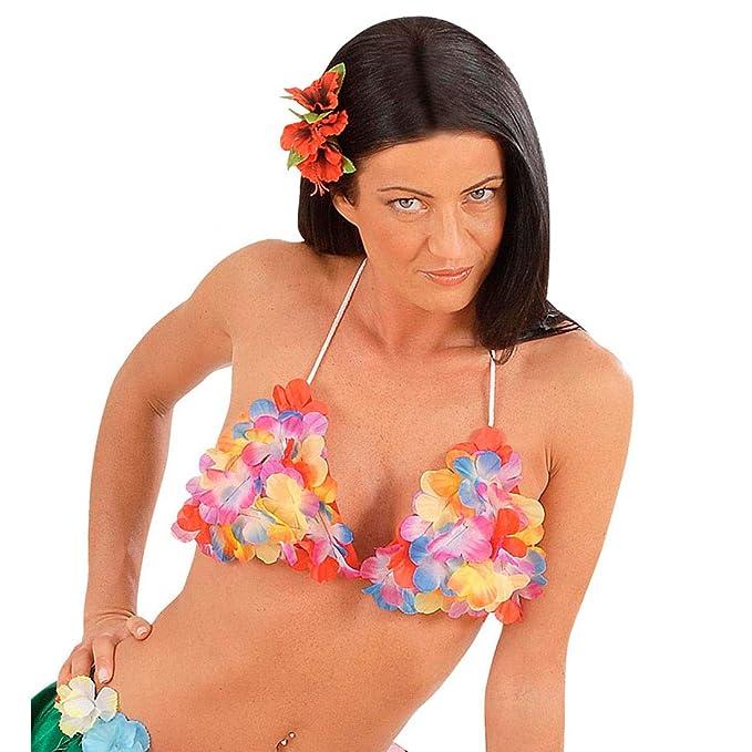 DAMEN HAWAII BIKINI Aloha Hula Blüten Rock /& BH Karibik Südsee Kostüm Party