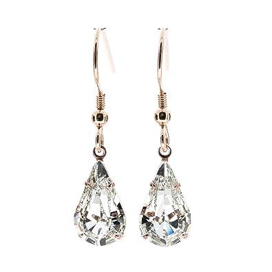1c7dec5ee pewterhooter 18ct Rose Gold drop earrings made with teardrop Diamond White  crystal from SWAROVSKI®. London Gift Box.: Amazon.co.uk: Jewellery