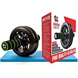 Ab Roller Exercise Wheel comes with Extra Soft Knee Mat By SG Fitness - Its Portable /Lightweight /Easy Assembly Great For An Abs And Core Training - Our Abs Roller Wheel Comes With Thick Foam Handles And Suitable For Both Women And Men - The Abs Trainer Is The Perfect Home/Travel Workout Equipment