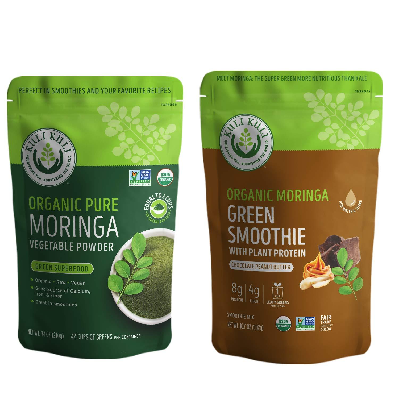Kuli Kuli Moringa Oleifera Organic Leaf Powder & Green Smoothie, 100% Pure USDA Certified & Non-GMO Moringa Powder, Great with Smoothies, Tea, and Food, Combo Pack
