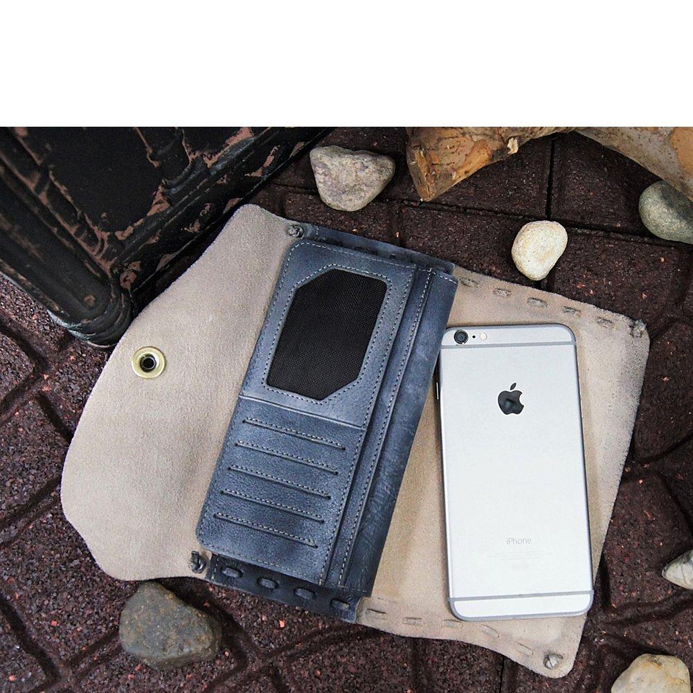 Diophy Fashion Snap Closure Genuine Leather Asymmetrical Wallet Grey