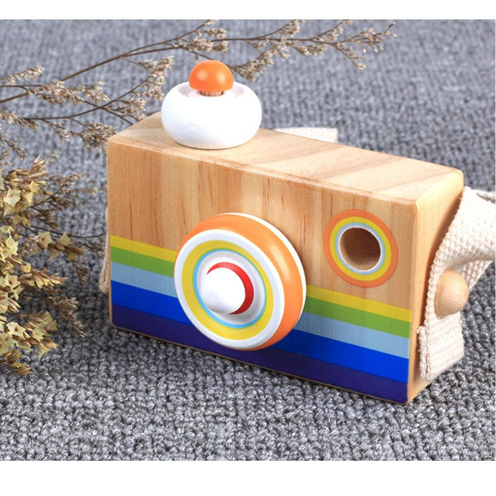 Transer- Wooden Camera Toy - Cartoon Wood Camera Toys Gifts for Kids Toddlers Boys Grls (A)