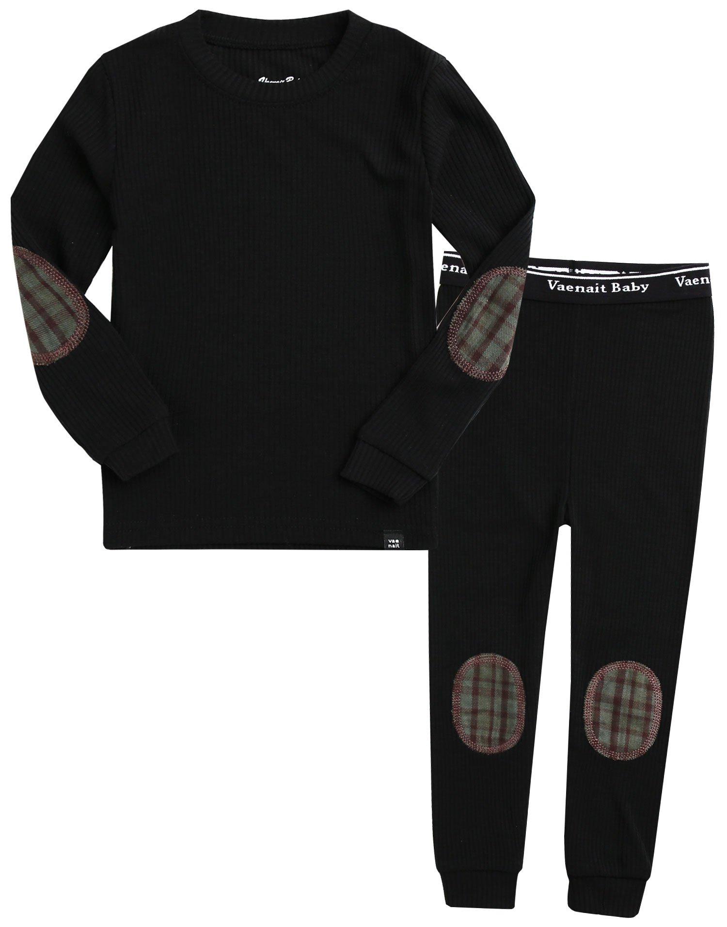 Vaenait baby Kids Boys Sleepwear Pajamas 2pcs Set Maple Patch Black M
