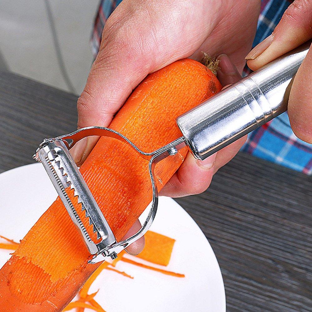 Mecohe 2 Pezzi PRO Pela Verdure Duale a Julienne Pelapatate Multifunzione in Acciaio Inox Frutta e Verdura Peeler Set