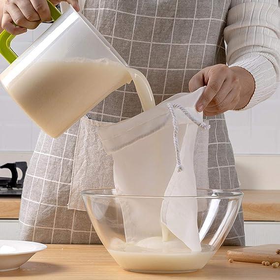 Paquete de 2 bolsas de leche para nueces, colador de leche de malla fina, reutilizable, bolsa de filtro de leche de almendra, coco, yogur griego, leche de soja, frutas y verduras: Amazon.es: