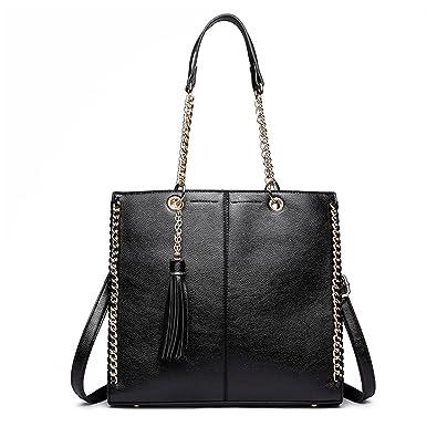 f7bda8b4b32b Amazon.com  Processes Women Designer Pu Leather Shoulder Bags Tassel Handbag  Ladies Fashion Tote Girls Cross Body Messenger Bags Yd1821 Black  Shoes