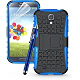 VAK® SAMSUNG GALAXY S3 (I9300) CASE Heavy Duty Armour Tough ShockProof Builder Hard Back Case Cover Pouch With Stand For Samsung Galaxy S3 (i9300) with FREE Screen Protector & Cloth & Touch Stylus (Blue)