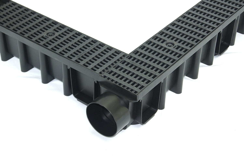 Entwässerungsrinne 148mm Einlaufkasten Stegrost Kunststoff inkl. Zubehör (9m + 2 Stirnwände)