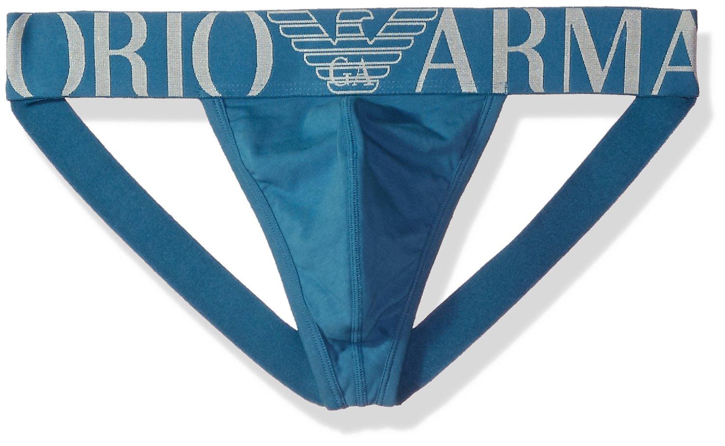 Emporio Armani Men's Stretch Cotton Megalogo Jockstrap, Cadet Blue, XL