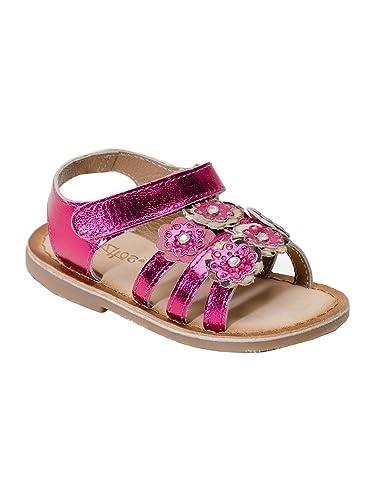 bff21630040b1 Amazon.com | Pazitos Girls Fuchsia Studded Flower Mini Burst Sandals ...