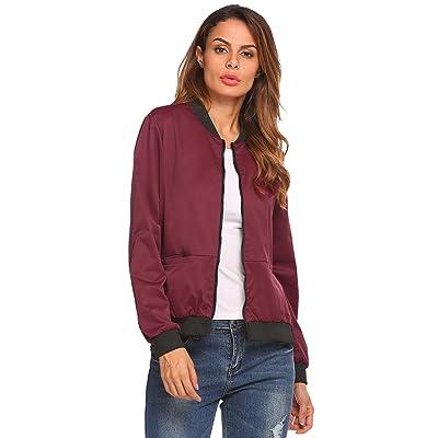 ACEVOG Women's Casual Velvet Long Sleeve Zip Up Quilted Short Bomber Jacket Coat