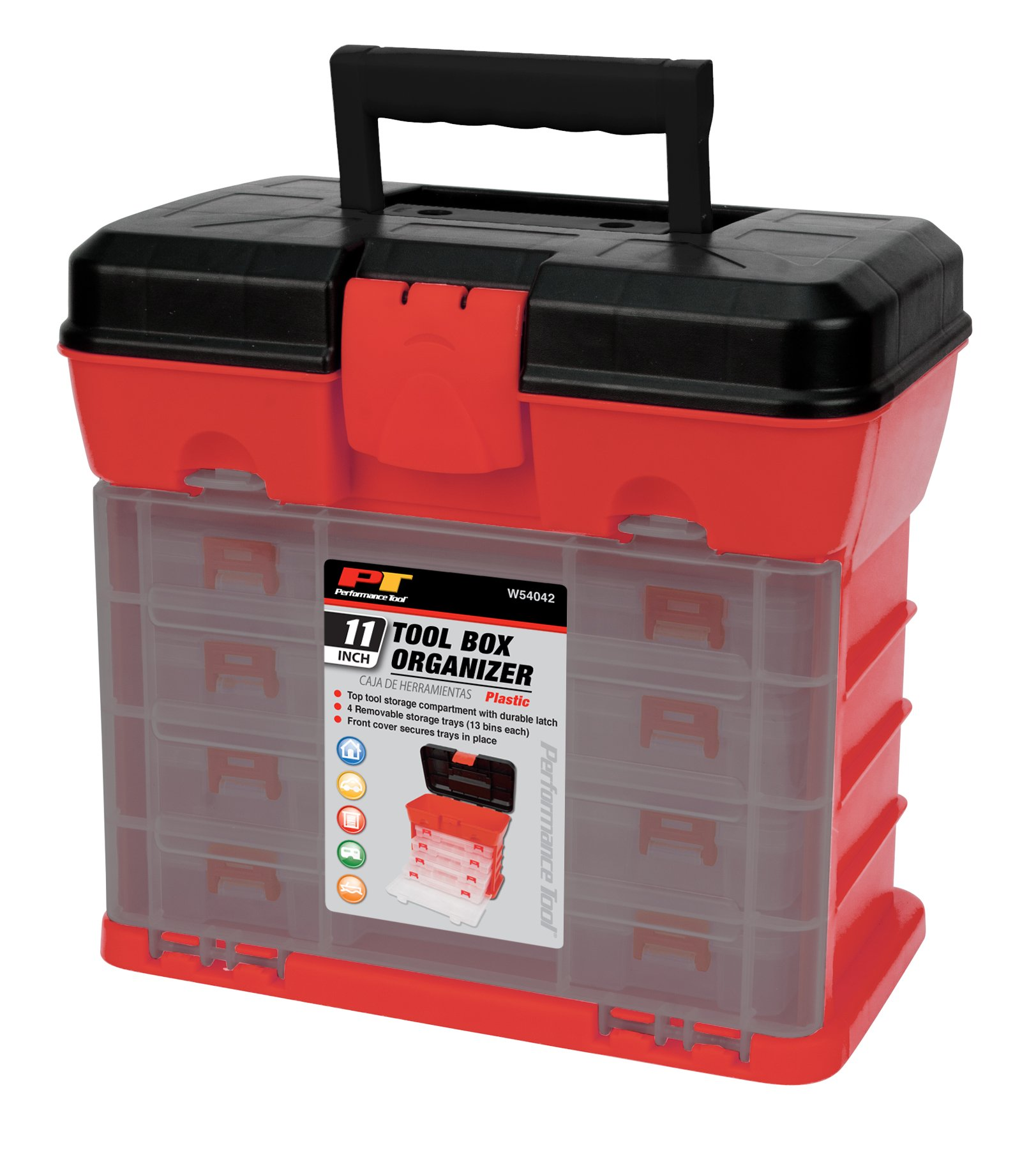 Performance Tool W54042 Plastic Rack System Tool Box with 4 Organizers