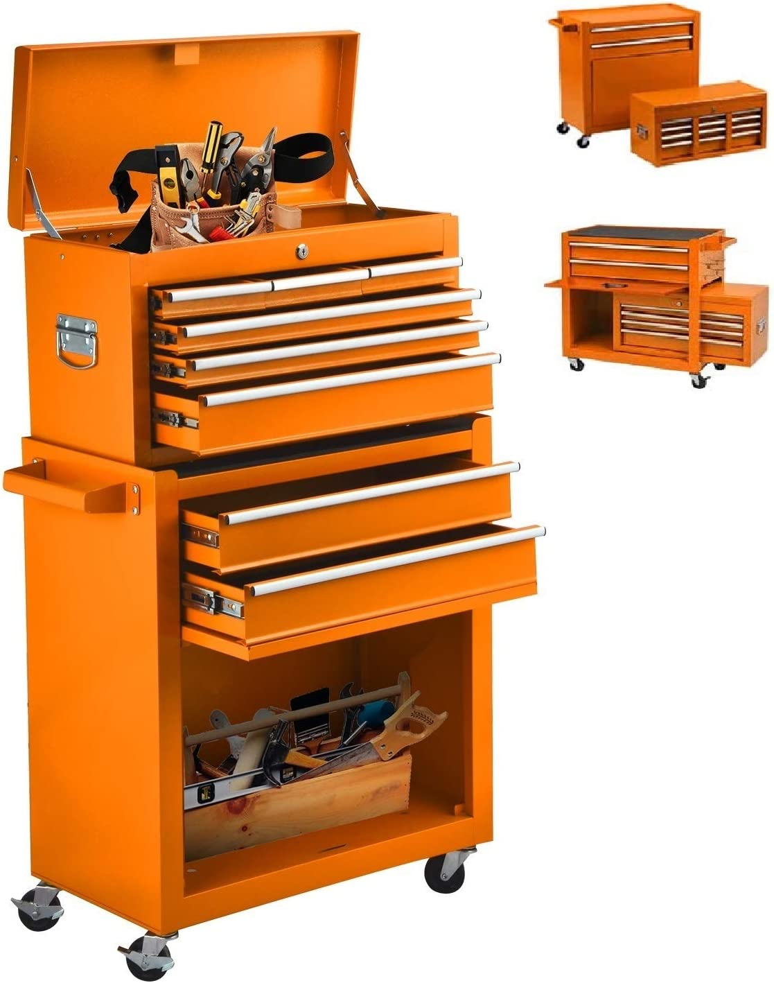 Large Tool Chest 8-Drawer Removable Tool Box With Locks,Tool Storage Cabinet With Wheels Simple Assembly Orange