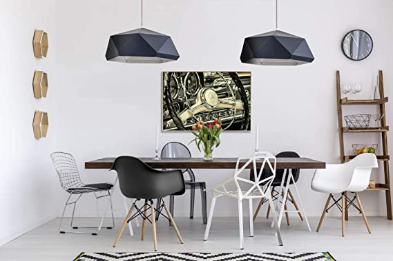 Kunstloft® fotografía artística enmarcada Steering 90x60cm   fotografía contemporánea Cubierta por Vidrio   Coche Volante Beige Gris   fotografía artística con Marco de Aluminio: Amazon.es: Hogar