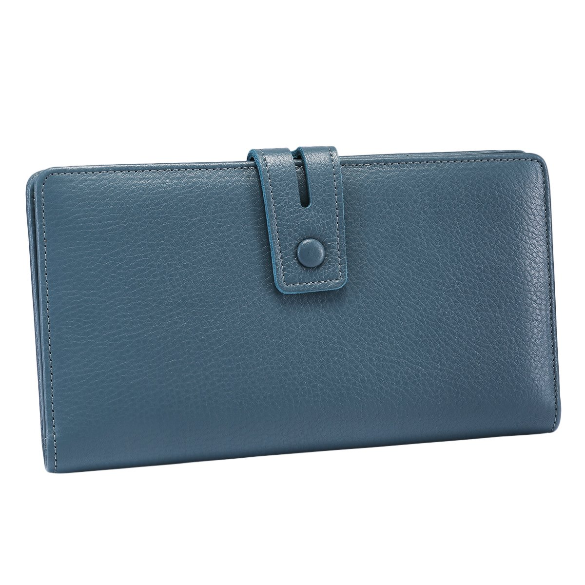 ITSLIFE Women's Big Fat RFID Blocking Leather Wallet Clutch Organizer with Checkbook Holder(Blue) by ITSLIFE (Image #2)