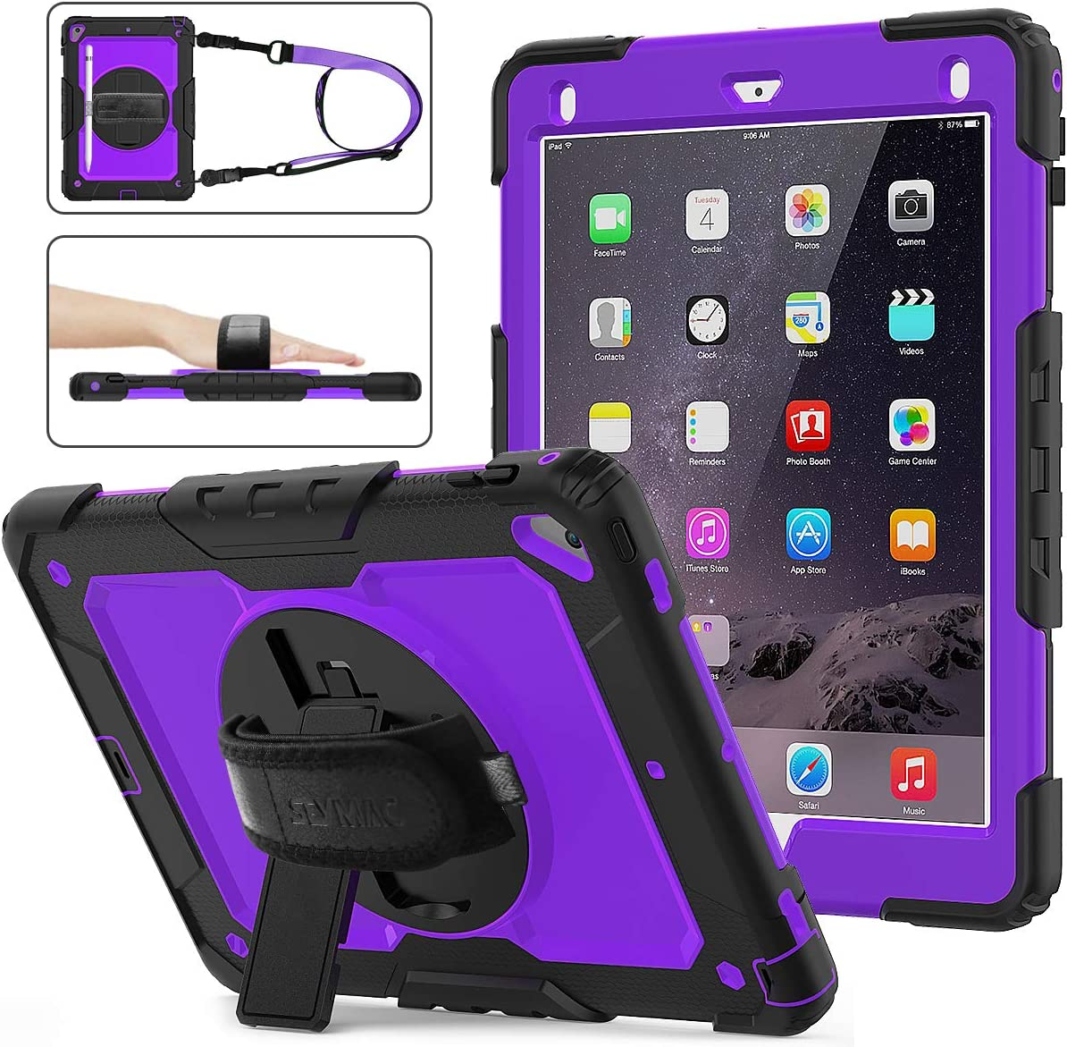 iPad 6th/5th Generation Case, SEYMAC Stock [Full-Body] Drop Proof Armor Case with 360 Rotating Stand [Pencil Holder][Screen Protector] Hand Strap for iPad 6th/5th/ Air 2/ Pro 9.7 (Purple+Black)
