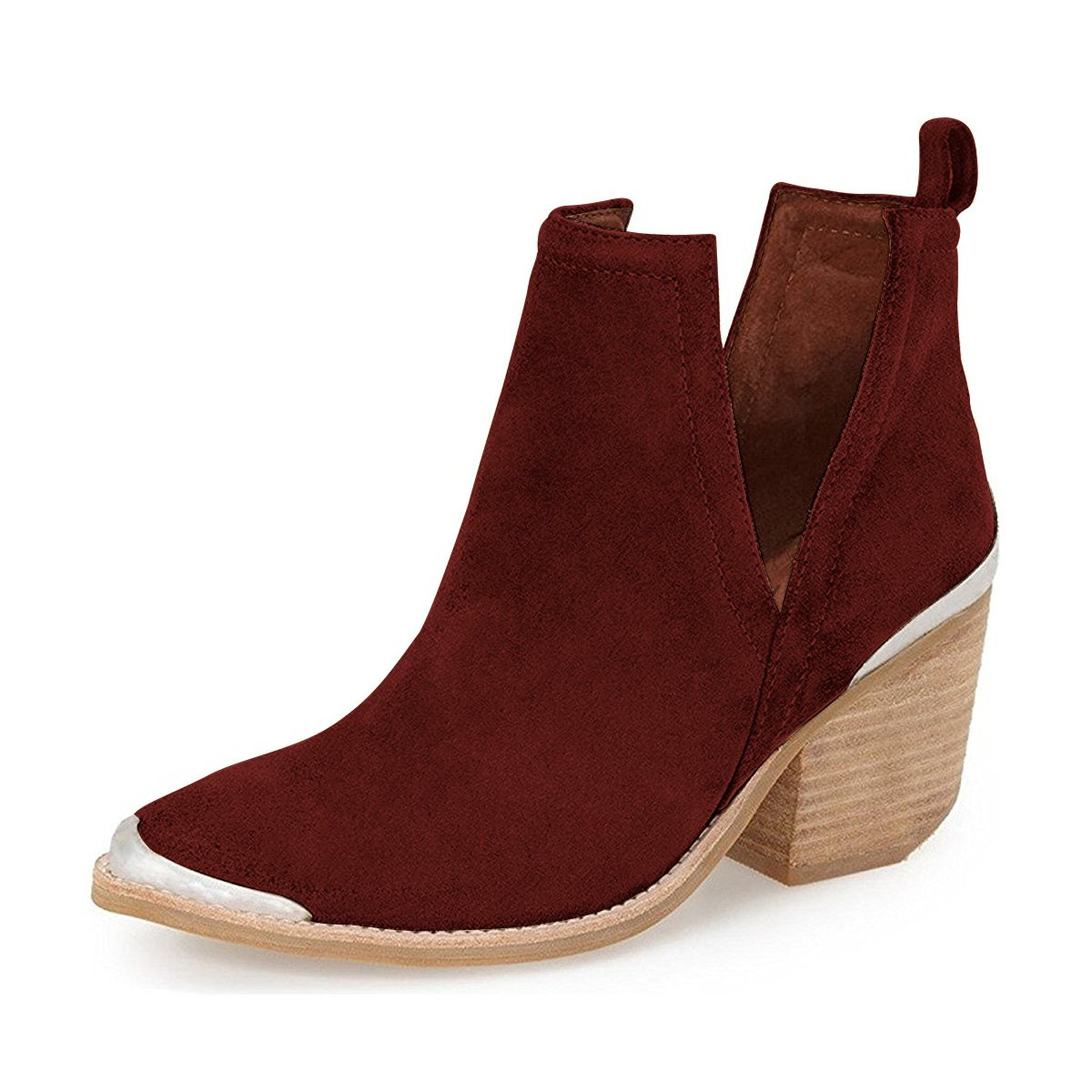 YDN Women Ankle Booties Low Heel Faux Suede Stacked Boots Cut Out Shoes with Metal Toe B01N7PR9R0 12 M US|Wine Red