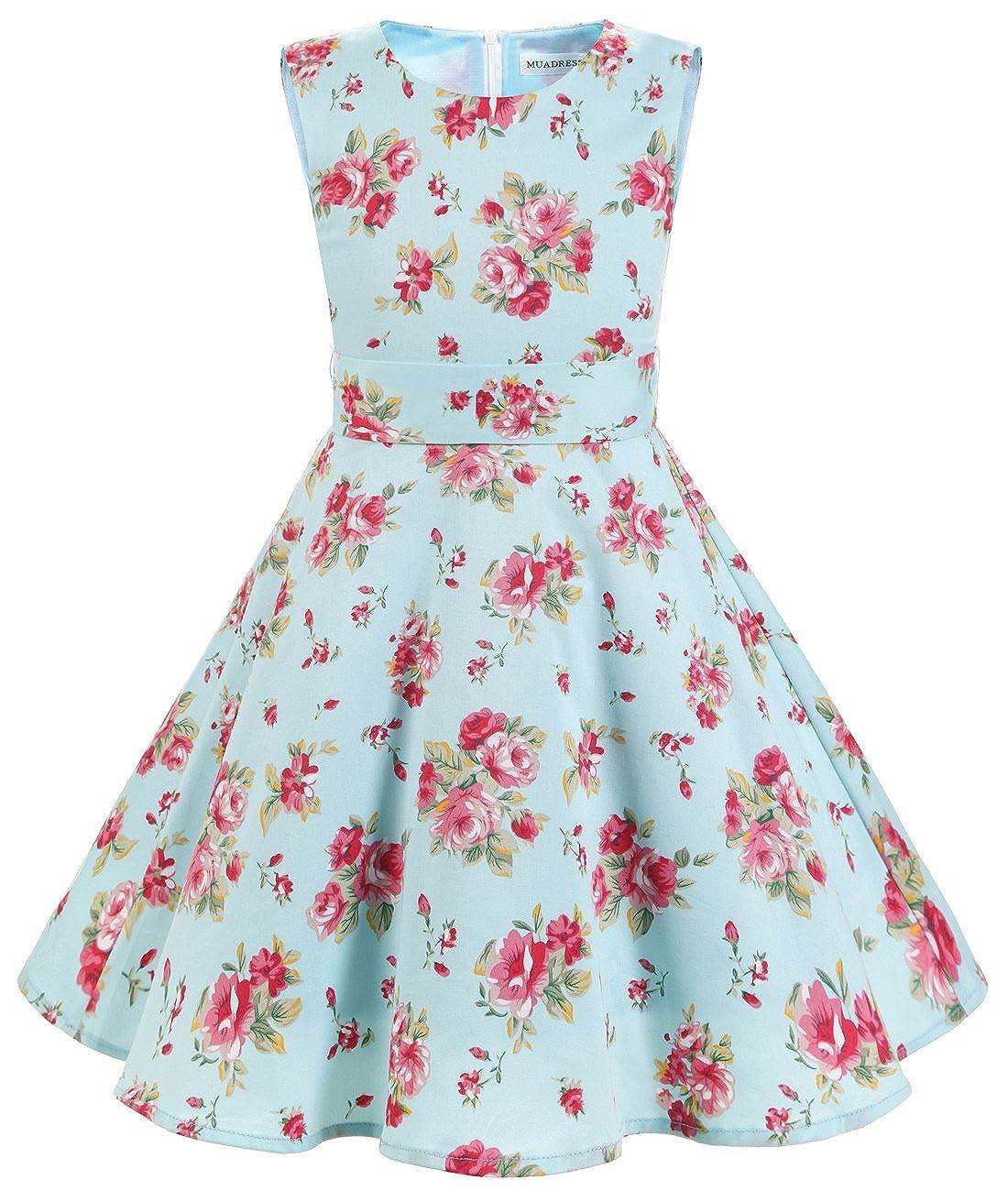 MUADRESS Mädchen Vintage Kleid Babykleider Polka Festlich 50er Kleid