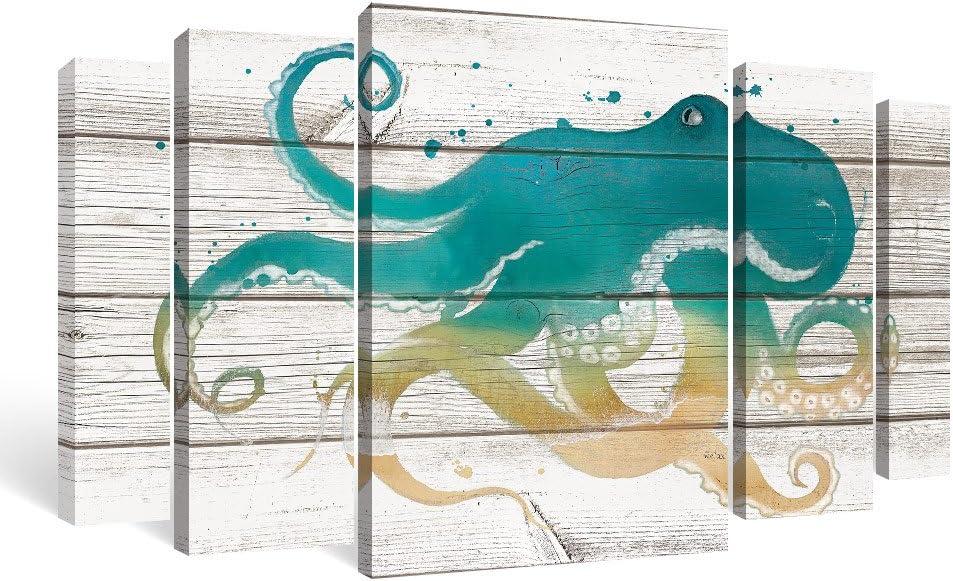 SUMGAR Pictures for Living RoomOctopus Framed Canvas Wall Art for Bathroom on Vintage Wood Background,5 Piece