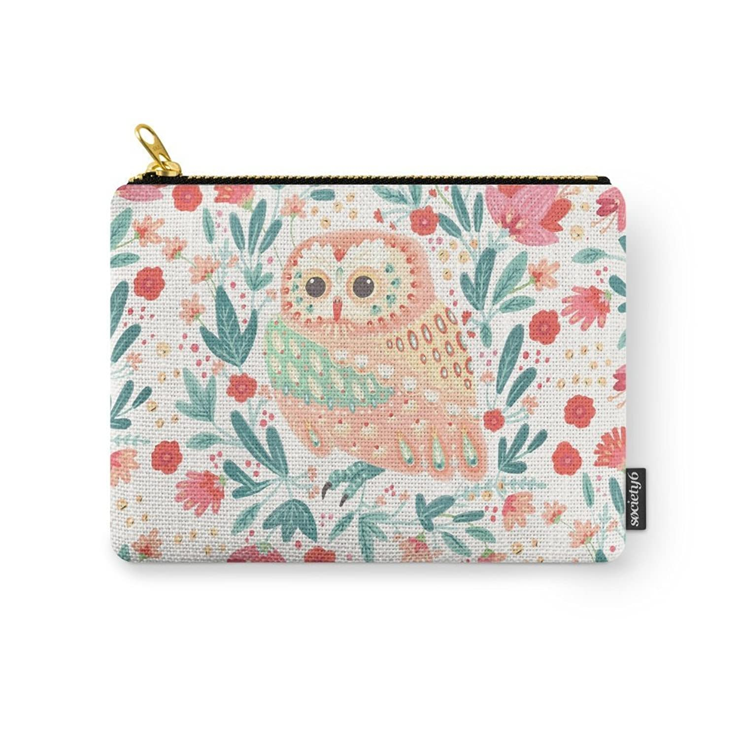 Society6 Little Pink Owl Carry-All Pouch