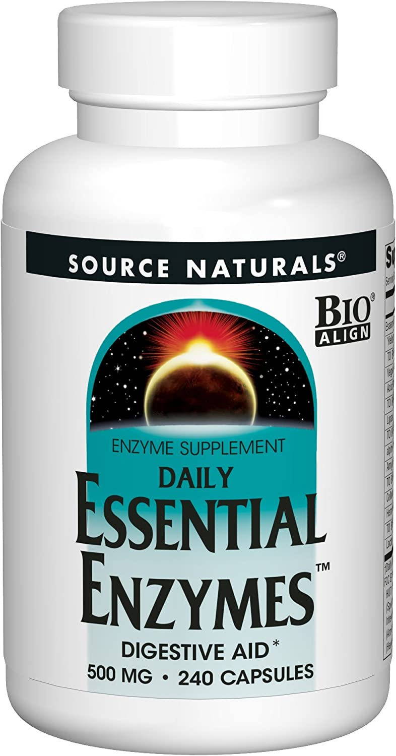 Source Naturals Essential Enzymes 500mg Bio-Aligned Multiple Enzyme Supplement Herbal Defense for Digestion, Gas, Constipation & Bloating Relief - Supports A Strong Immune System - 240 Capsules: Health & Personal Care