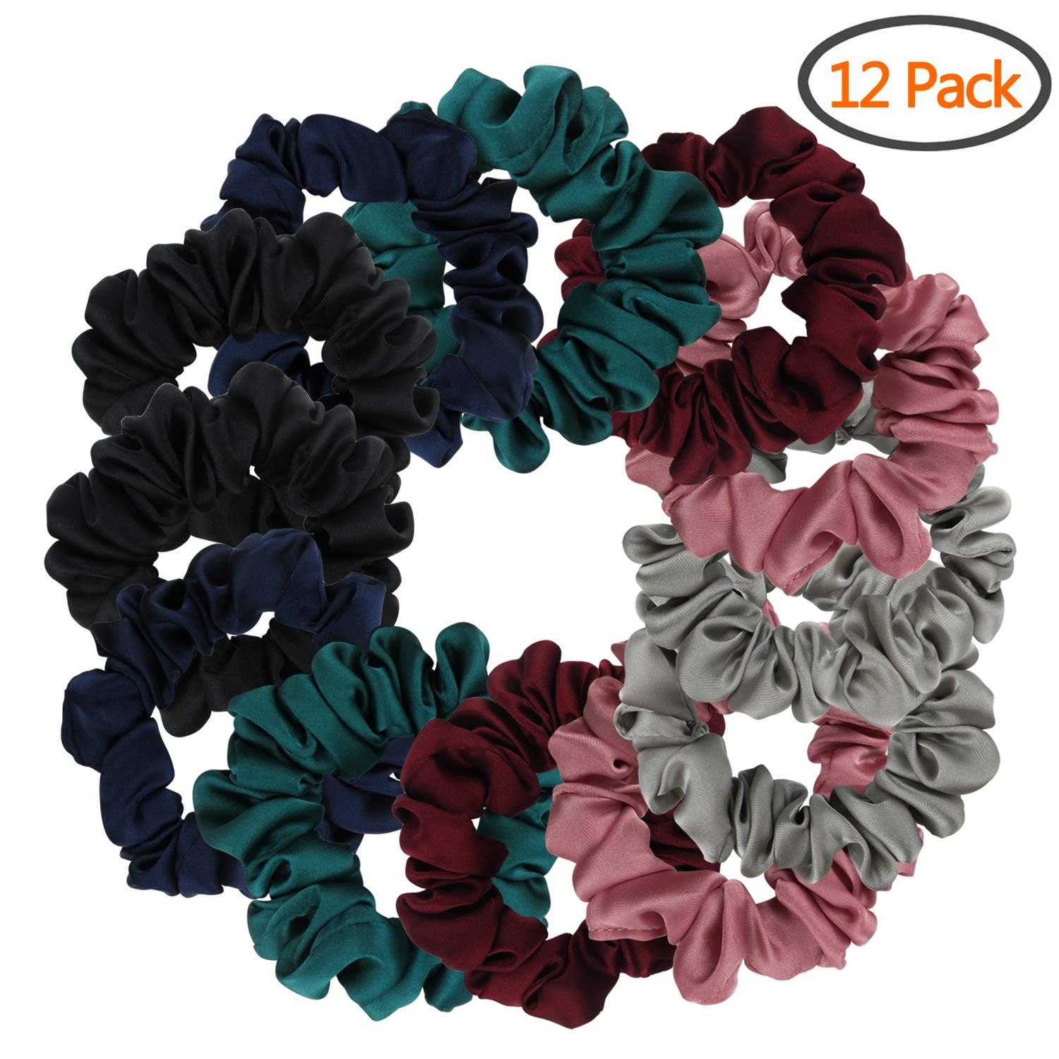 BETITETO Set of 12 Satin Ponytail Holders Soft Hair Elastics Vintage Hair Scrunchies Ties for Women Girls (Multicolored)