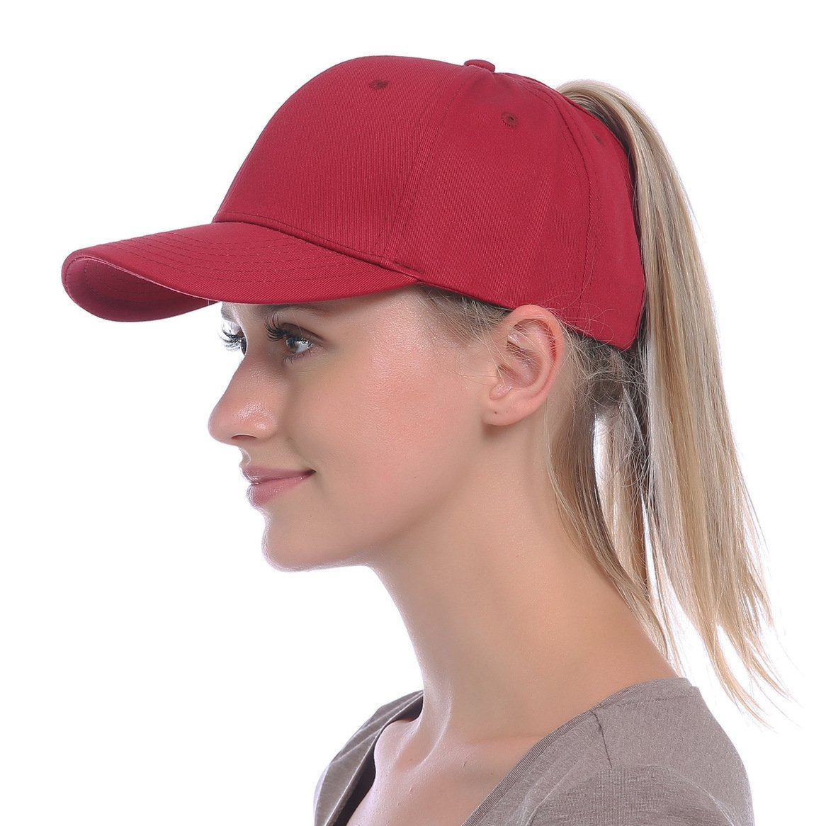 JAKY Global Ponytail Baseball Cap Messy Bun Adjustable Mesh Trucker Cotton Hats  Women(Grey) at Amazon Women s Clothing store  a8627680000e