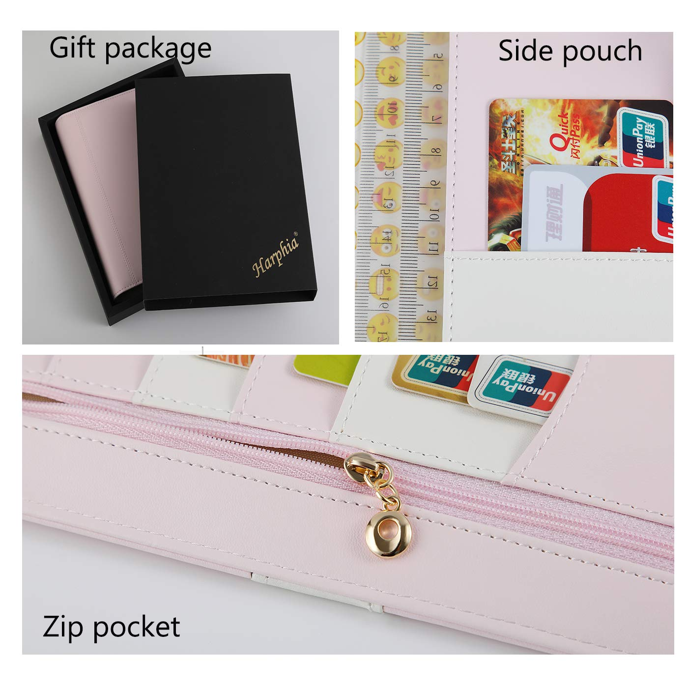 Harphia A5 Planner, A5 Planner Binder 6 Ring Binder softcover PU Personal Organizer with Snap Button Light Pink No Refills Included(A5 9.25 x 7.08)