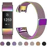 HUMENN Correa para Fitbit Charge 3, Milanese Pulseras de Reemplazo Completamente Ajustable de Metal con Fuerte Bloqueo Magnético para Fitbit Charge 3, Pequeña Grande