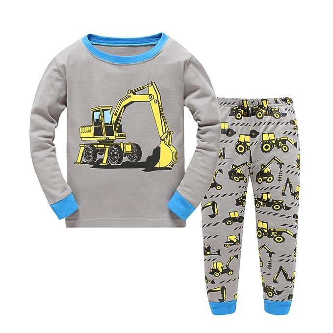 Amazon.com: Kids excavadora pijamas 100% algodón mangas ...