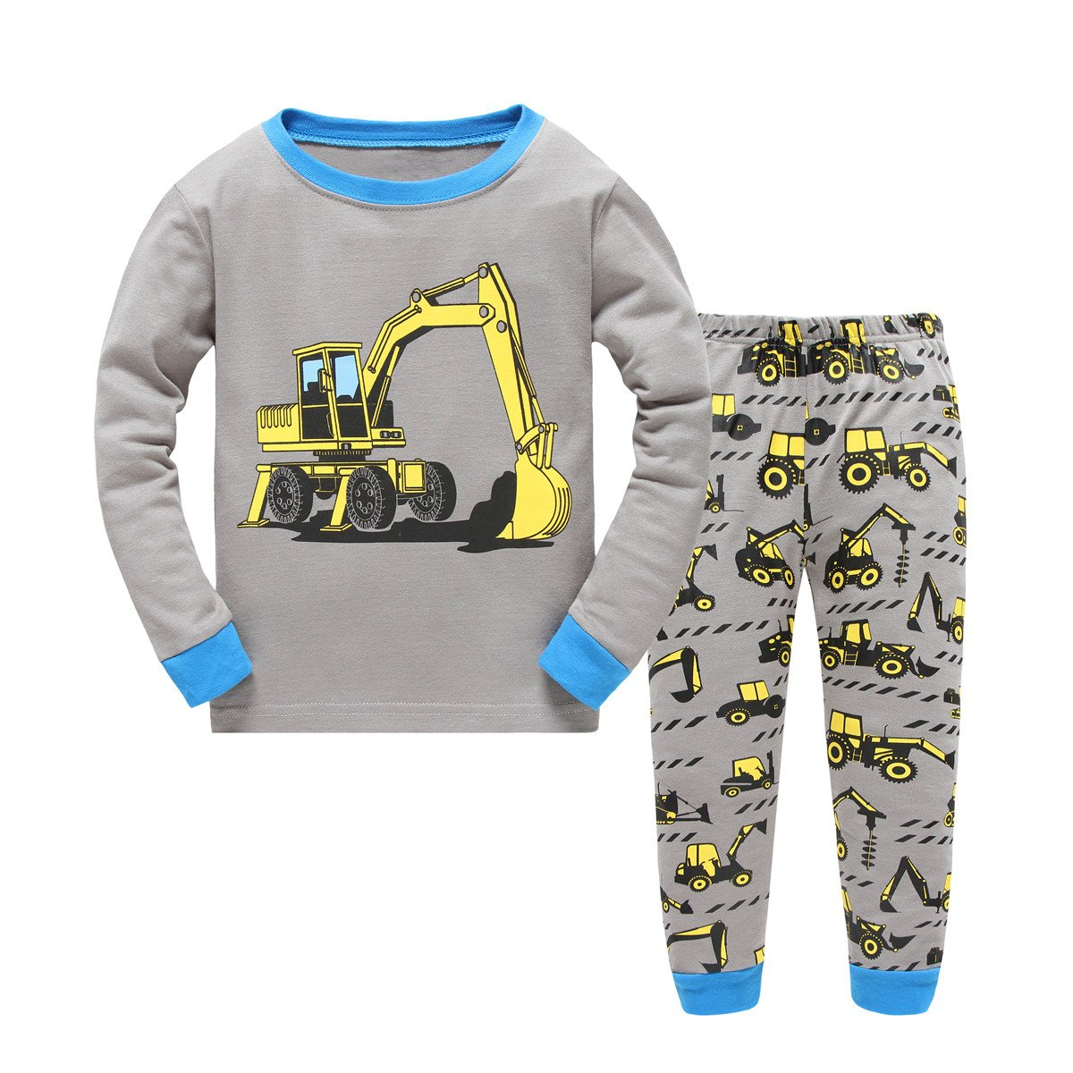 Kids Excavator Pajamas 100% Cotton Long sleeves Toddler Sleepwear Pants 2 Pieces for Children Size 2Y-7Y (2T, Gray)