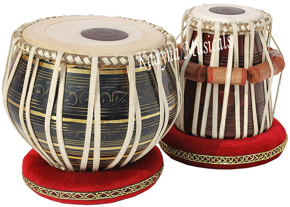 Tabla Drum Set, 2.5 Kg Black Painted Designer Brass Bayan, Beautiful Look, Sheesham Wood Dayan, Hand Made Drum Skin, Camel Leather Strap to Tune, Comes with Tuning Hammer, Gig Bag, Cushion & Cover Kaayna Musicals BKSB-BRA-05
