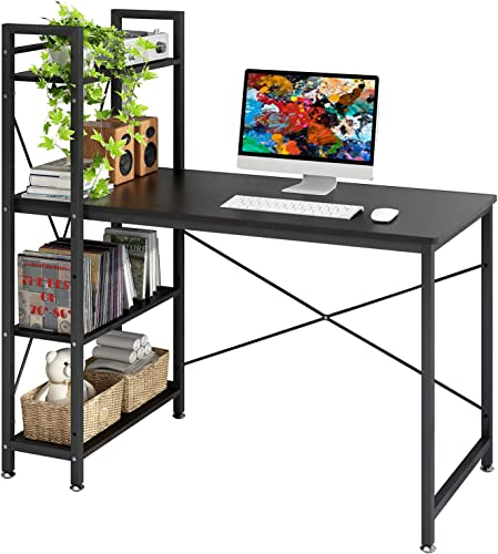 4NM Industrial Computer Desk with 4-Tier Bookcase, 47.24 inches Home Office Desk Writing Workstation Study Table Multipurpose Space-Saving Desk – All Black